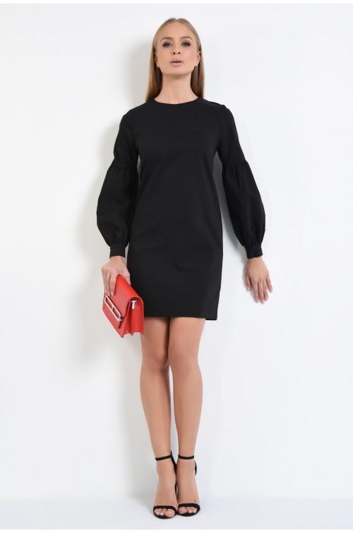 360 - rochie scurta, neagra, online, croi drept, maneci bufante, mansete