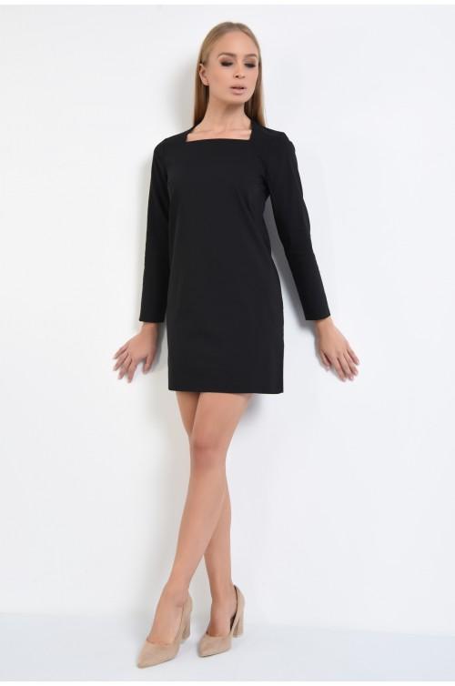 360 - rochie dreapta, mini, maneci lungi, negru, decolteu asimetric