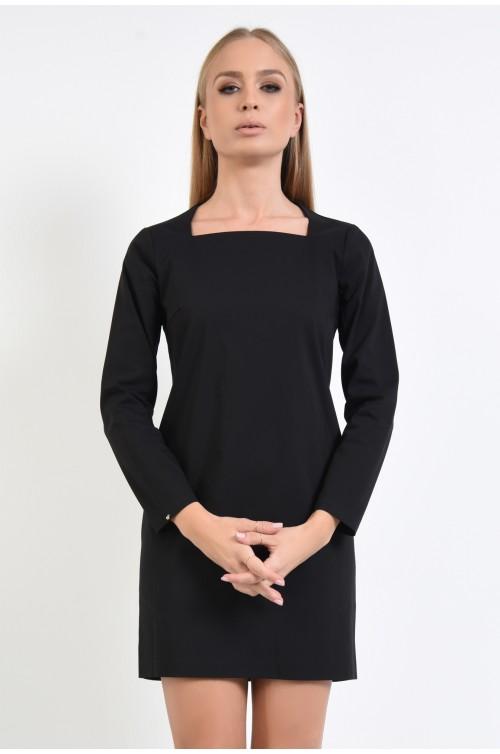 rochie casual neagra, scurta, croi drept