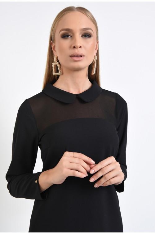 rochie neagra, dreapta, guler rotunjit, decolteu transparent