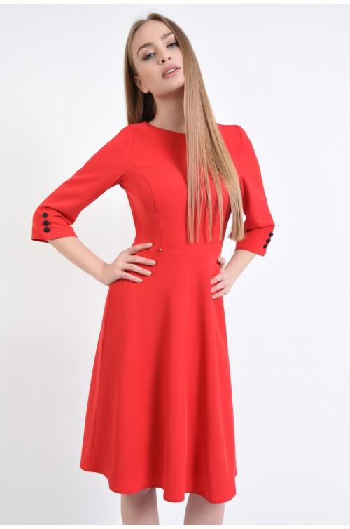 Rochie de zi cambrata, rosie