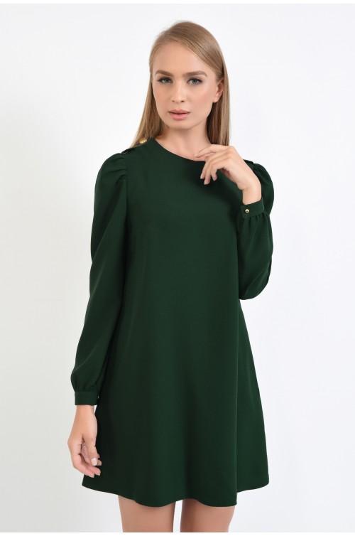 rochie de zi, cu epoleti, verde, scurta, rochii online, rochie de toamna