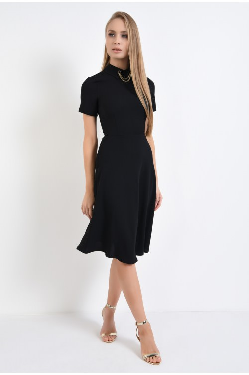 360 - rochie eleganta, A-line, guler camasa, tesatura