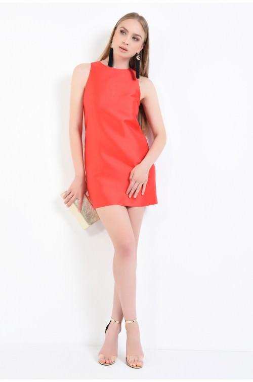 360 - rochie eleganta rosie, fermoar, tesatura, rochie tubulara