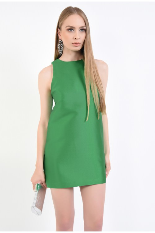 rochie eleganta, scurta, tafta, verde