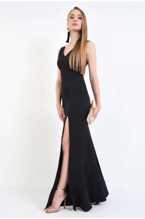 360 - rochie de seara neagra, bie, maxi, rochie lunga