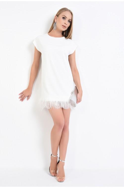 360 - rochie de ocazie cu pene, inchidere cu funda, alb