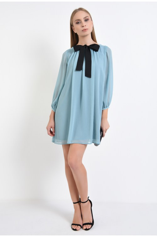 360 - rochie eleganta, albastru, voal creponat, babydoll