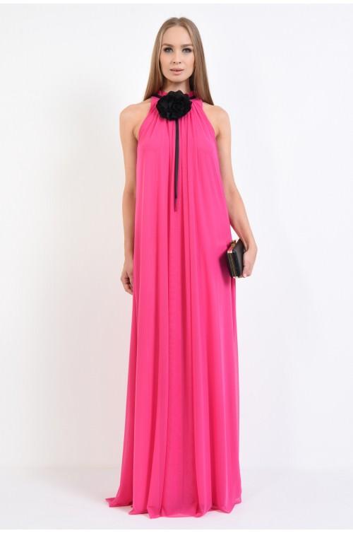 360 - rochie de seara, din tul, roz, floare decorativa, contrast, negru, croi evazat
