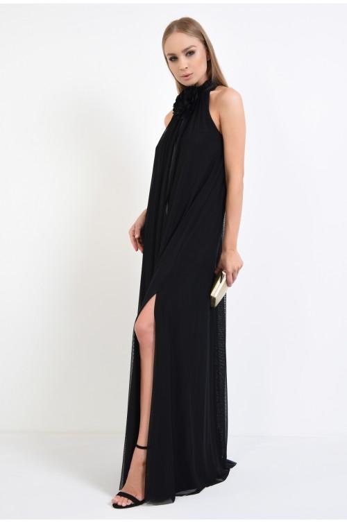 360 - rochii de ocazie online, tul negru, guler incretit, snur din satin