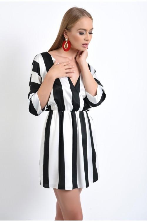 rochie de zi, croi evazat, talie pe elastic, satin, imprimeu, dungi, alb-negru