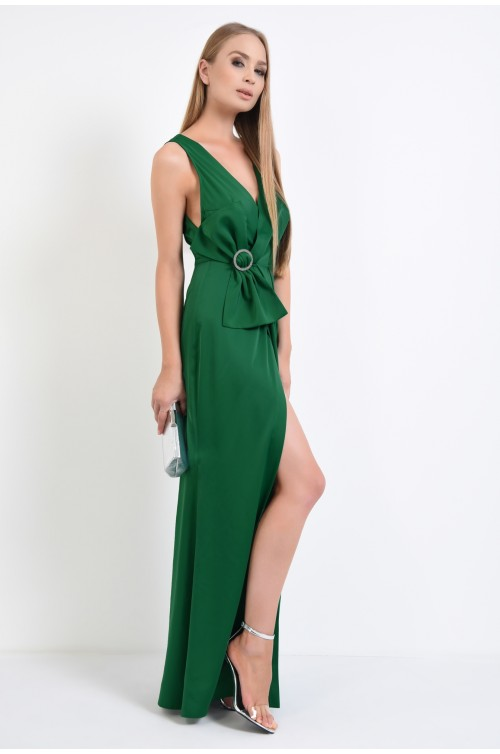 360 - rochie de seara lunga, rochie de gala, verde smarald, tesatura satinata, brosa