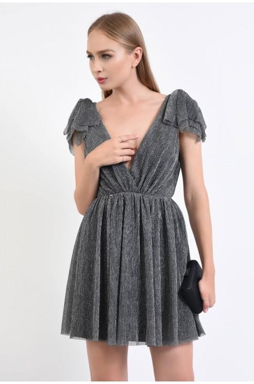 360 - rochie de seara, aspect metalic, fir lurex, mini, decolteu cache coeur