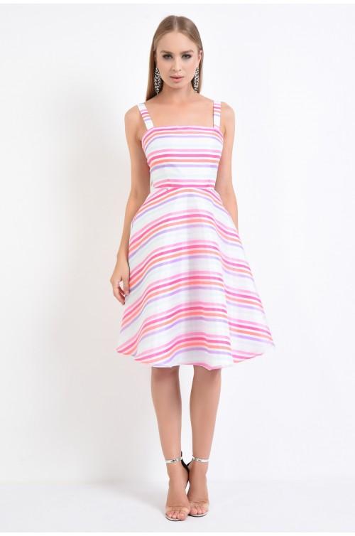 360 - rochie eleganta midi, rochie de vara, A-line, imprimeu cu dungi, alb, roz