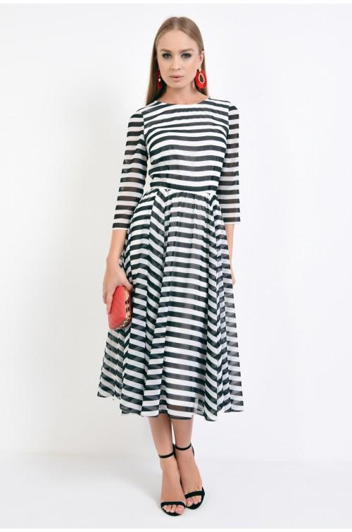 360 - rochie eleganta cu print, lungime midi, voal imprimat, talie pe elastic