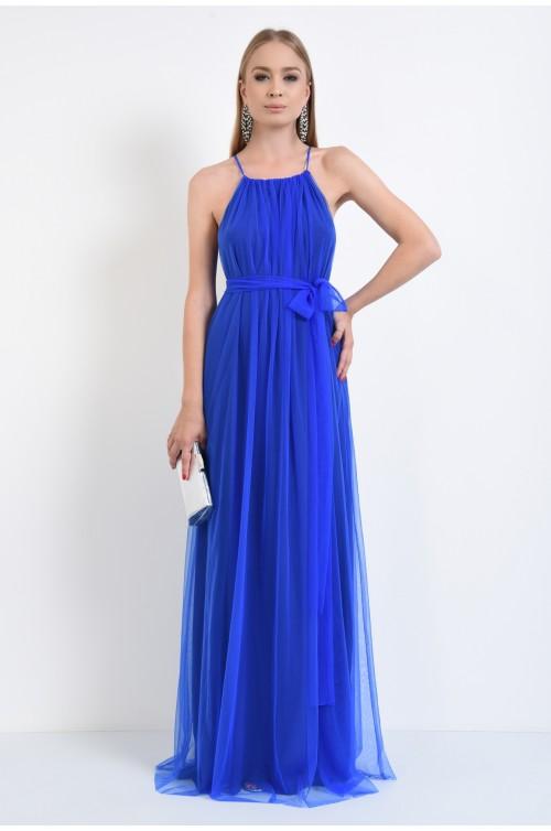 rochie de seara, albastru electric, tulle, drapata
