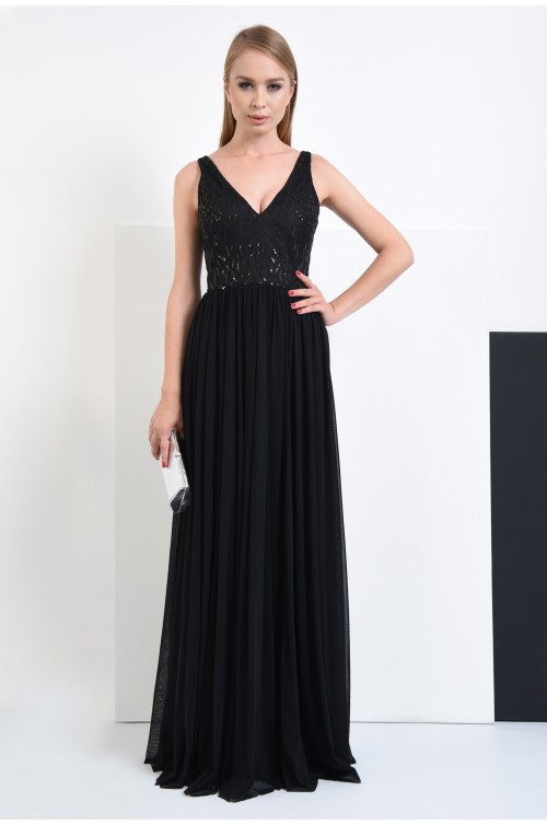 360 - rochie de ocazie, lungime maxi, fara maneci, bust cu paiete, rochii de seara online