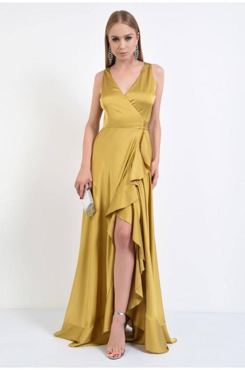 360 - rochie de seara, lunga, din satin, cu volane, petrecuta, mustar