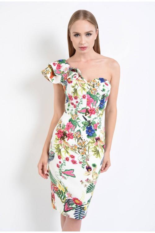 rochie de ocazie, imprimeu floral, alb, umar gol, volane