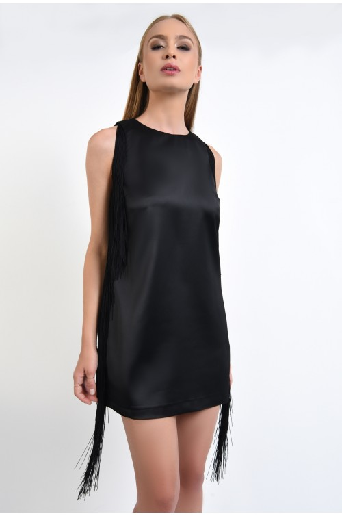 rochie eleganta, mini, fara maneci, franjuri laterali