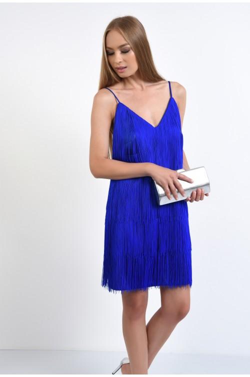 rochie de seara, albastru, electric blue, franjuri, bretele subtiri