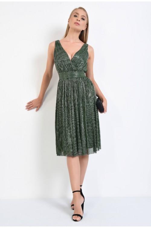 360 - rochie de seara din lurex, verde, croi larg, decolteu parte peste parte