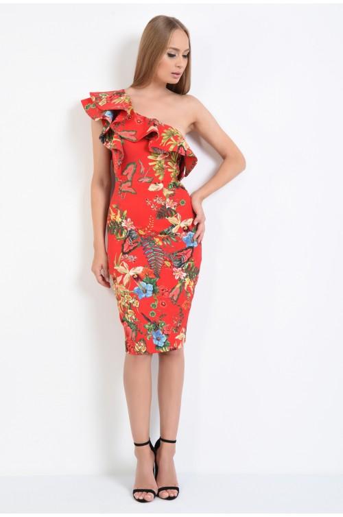 360 - rochie eleganta, imprimeu floral, croi conic, mici, rochii online, volane la umar