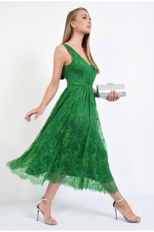 rochie de seara, evazata, lungime midi, decolteu, anchior