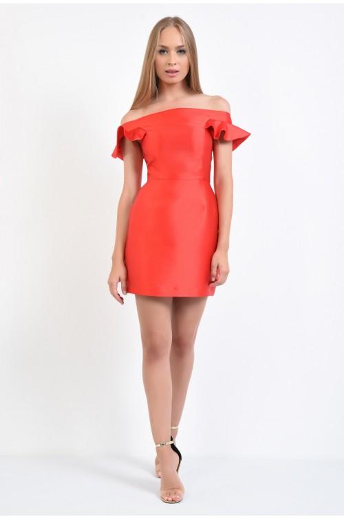 360 - rochie de seara, mini, rosu, spate decoltat, rochii online
