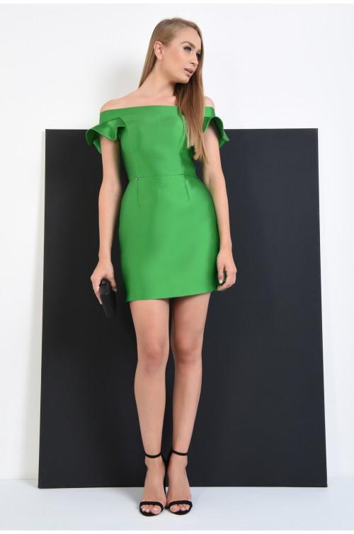 360 - rochie de seara mini, tafta verde, croi clepsidra