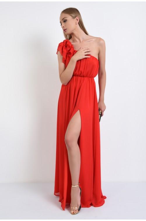 360 - rochie de seara, lunga, rosie, crapeu, volane la umar