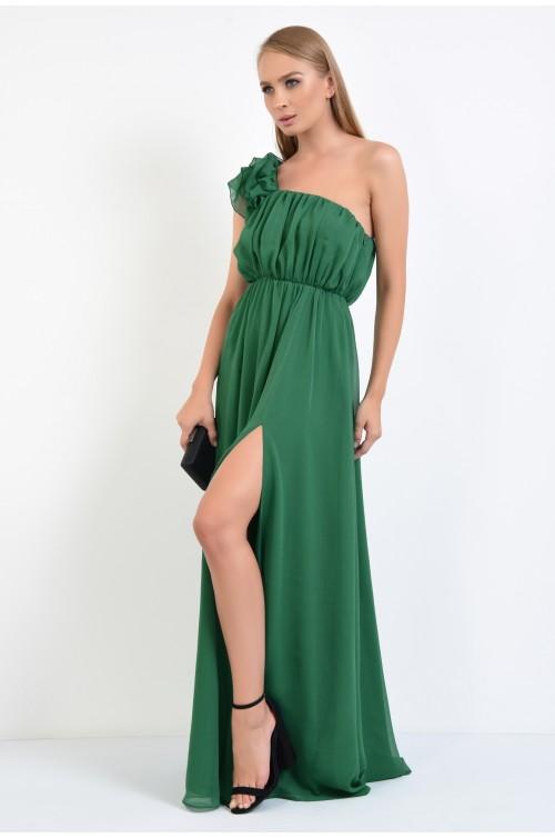 360 - rochie de ocazie, lunga, verde, umar dezgolit, cu crapeu, volane la umar