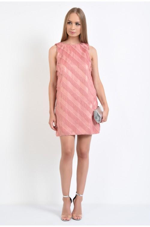360 - rochie de ocazie, cu franjuri, scurta, dreapta, roz, rochii online