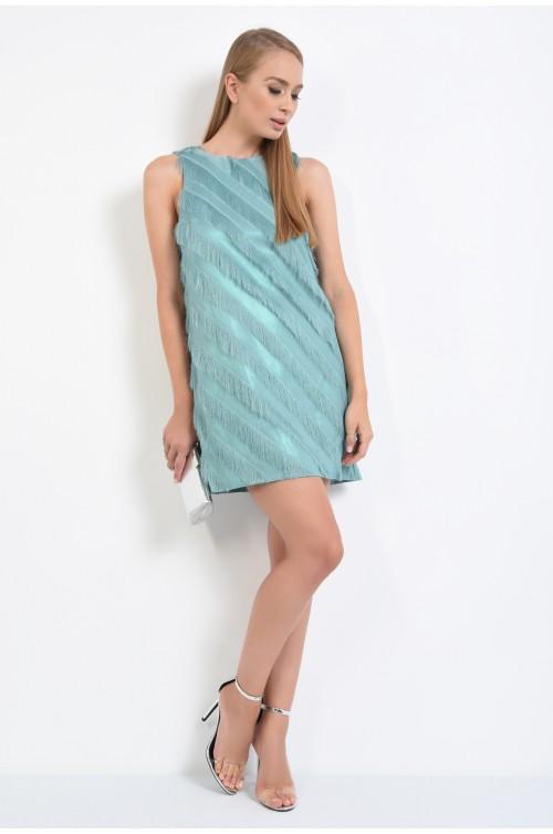 360 - rochie de seara turcoaz, cu frajuri, slip on, croi drept