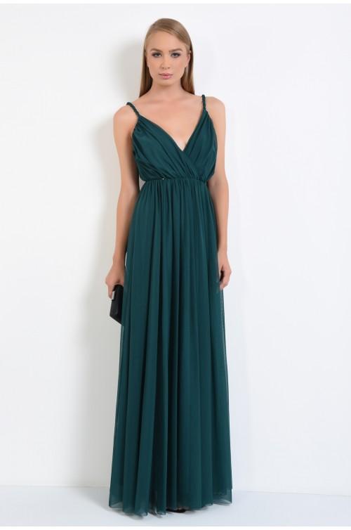 360 - rochie de seara lunga, din tul, bretele impletite, croi clos