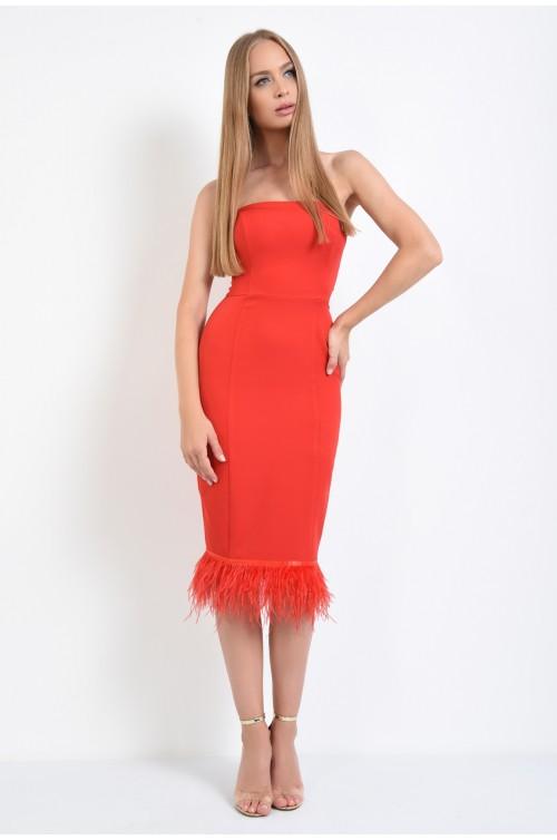 360 - rochie de ocazie rosie, pene naturale de strut