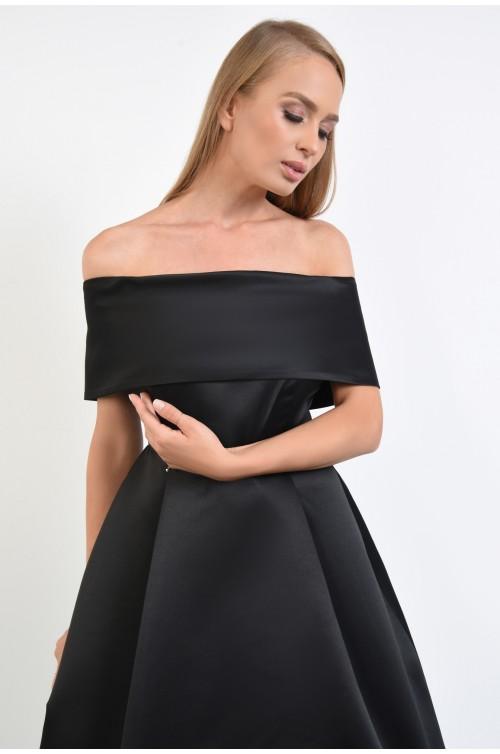 rochie eleganta, din tafta, neagra, umeri goi, capa