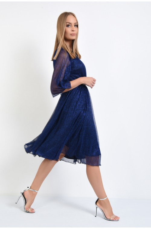 360 - rochie eleganta, din lurex, albastru, argintiu, croi clos