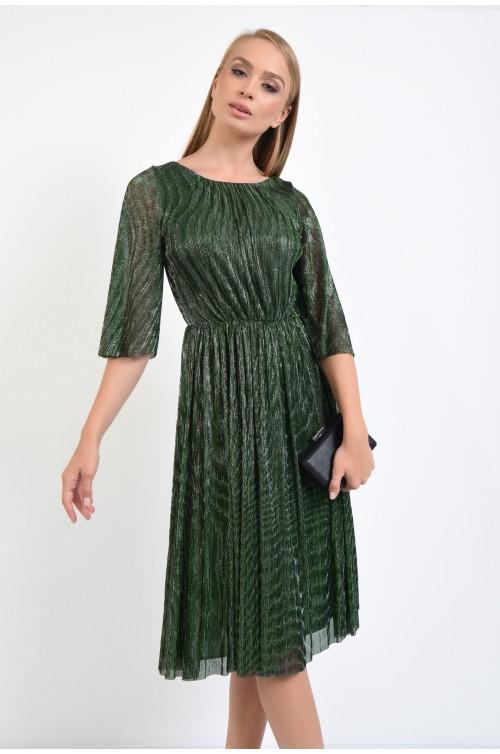 rochie de ocazie, verde, lurex, maneci fluture