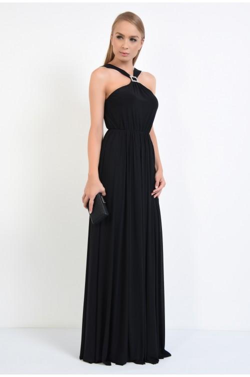 360 - rochie de ocazie, neagra, lunga, din tul, catarama cu strasuri