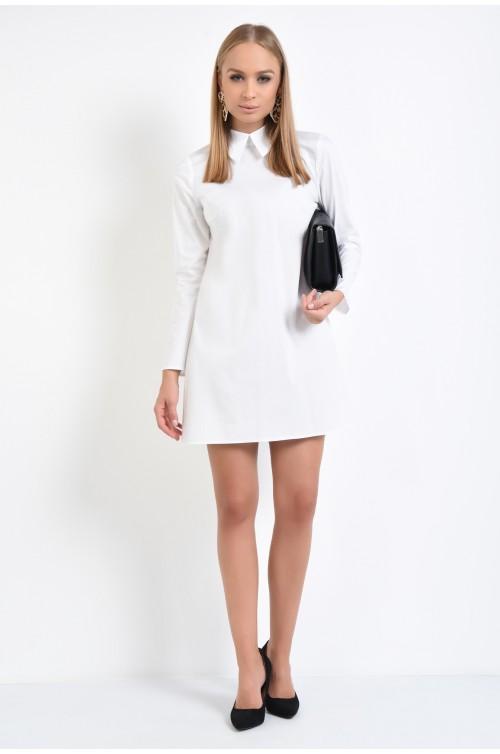 360 - rochie tip camasa, alba, scurta, cu maneci lungi