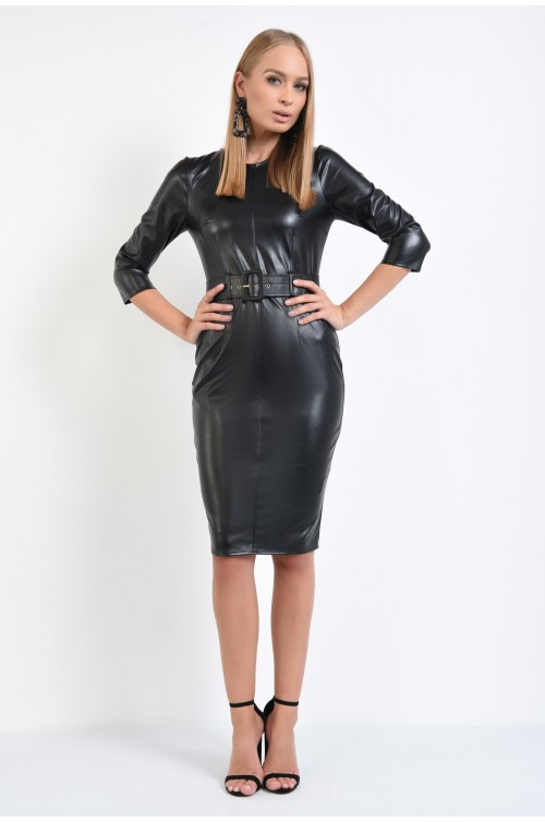 360 - rochie conica, neagra, din piele ecologica, cu centura