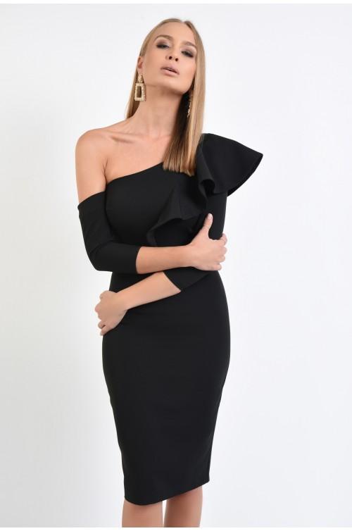 rochie de ocazie, conica, neagra, umar gol, maneca atasata