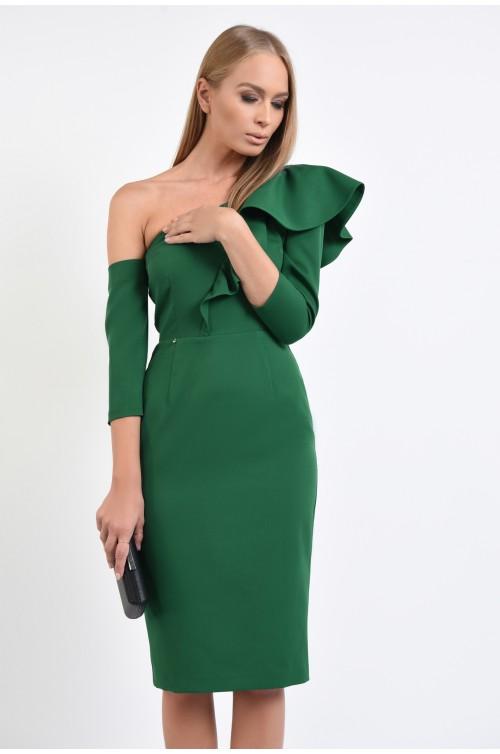 rochie de ocazie, verde, umar gol, decolteu asimetric