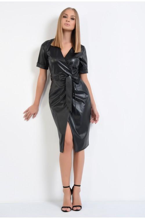 360 - rochie neagra, piele ecologica, midi, petrecuta