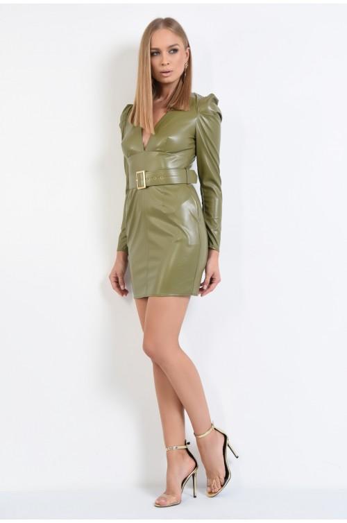 rochie kaki, din piele ecologica, scurta, croi conic, cambrata