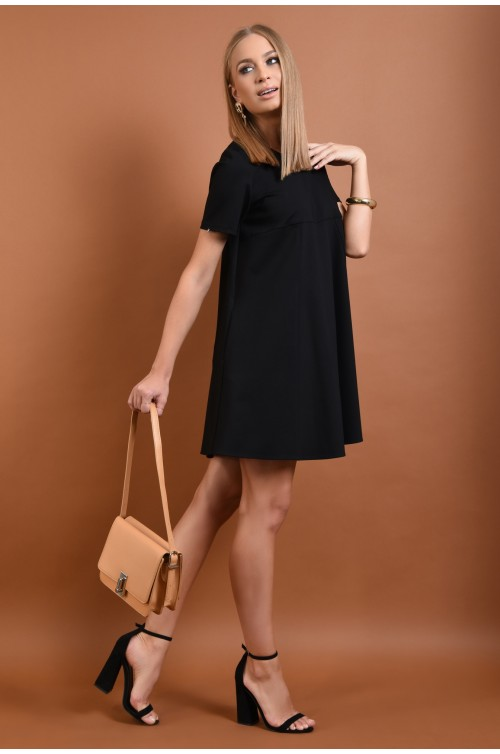rochie din tricot, neagra, scurta, croi evazat