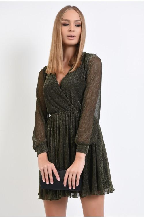 rochie eleganta, clos, scurta, maneci bufante transparente