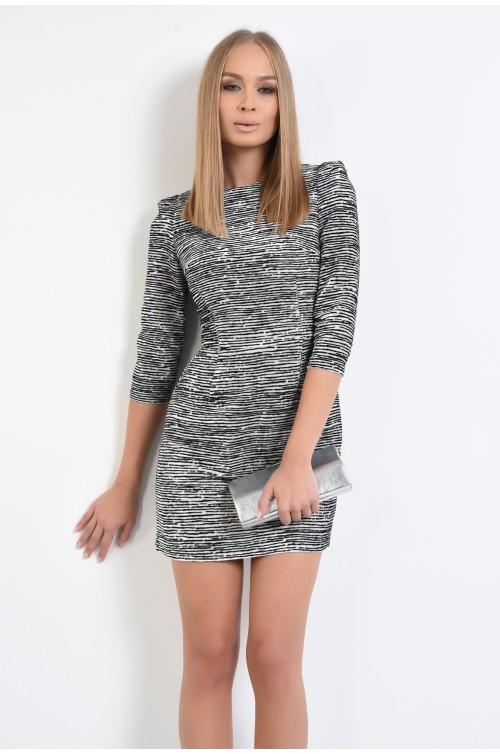rochie scurta, din velur, animal print, croi A-line, umeri accentuati