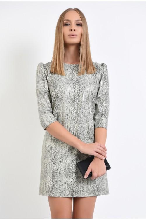 360 - rochie casual, dreapta, scurta, piele de sarpe ecologica